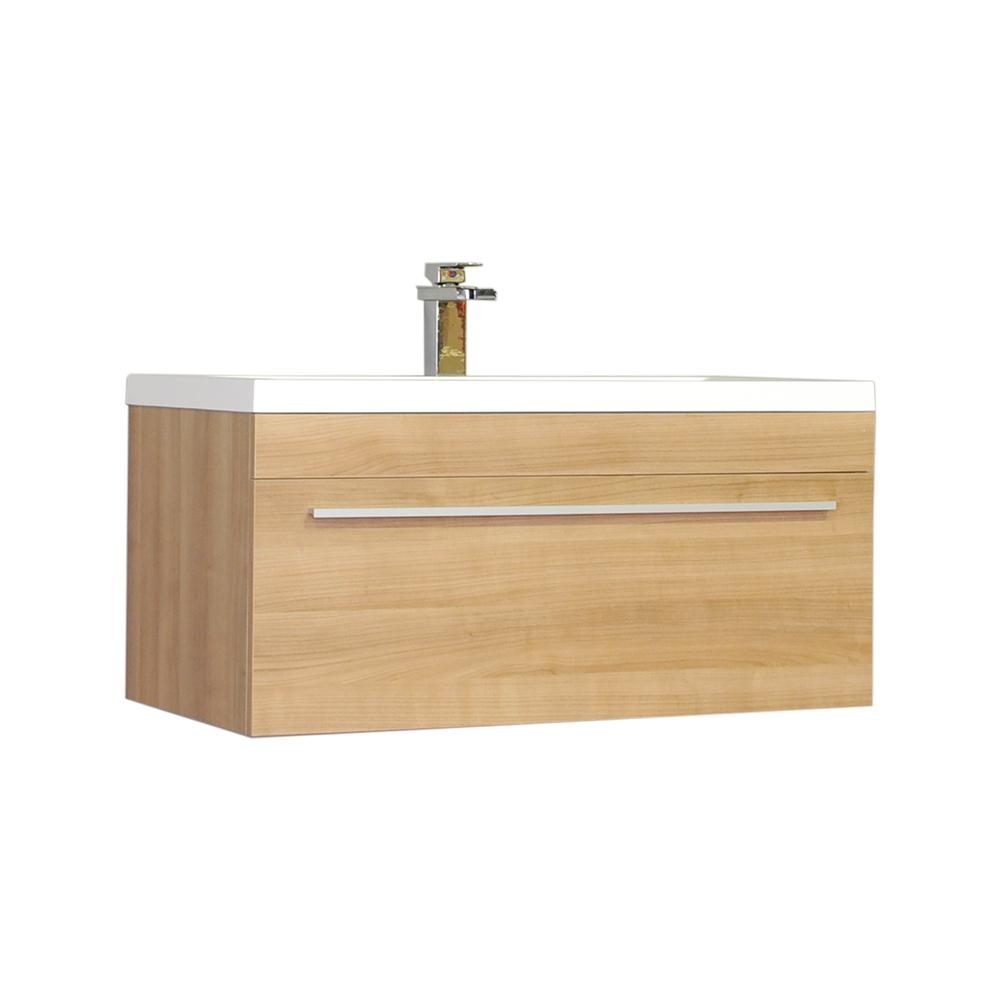 The Modern 35.25 in. W x 18.75 in. D Bath Vanity in Light Oak with Acrylic Vanity Top in White with White Basin