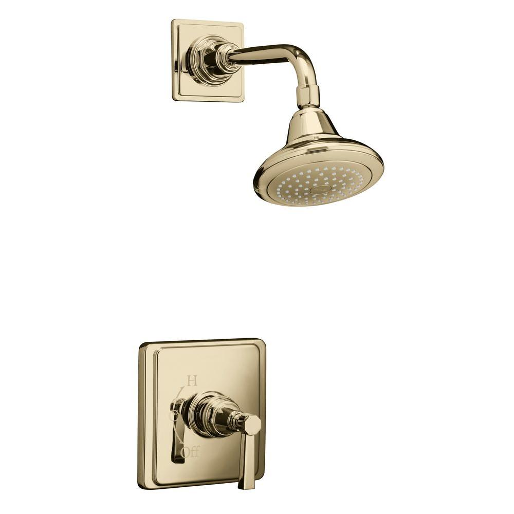 KOHLER Pinstripe Pure Rite-Temp Pressure-Balance Shower Faucet Trim in Vibrant French Gold (Valve Not Included)