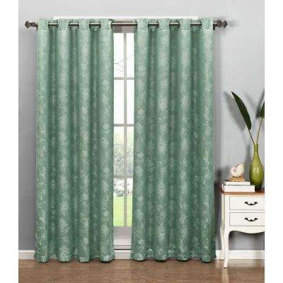 Semi-Opaque Danica Faux Embroidered 54 in. W x 84 in. L Grommet Extra Wide Curtain Panel in Jacquard Aqua
