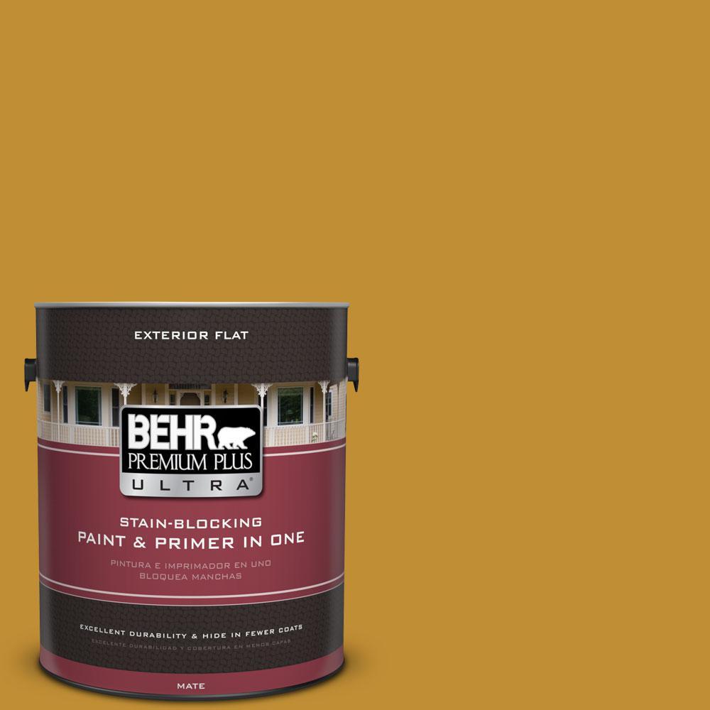BEHR Premium Plus Ultra 1-gal. #M290-7 Turmeric Flat Exterior Paint