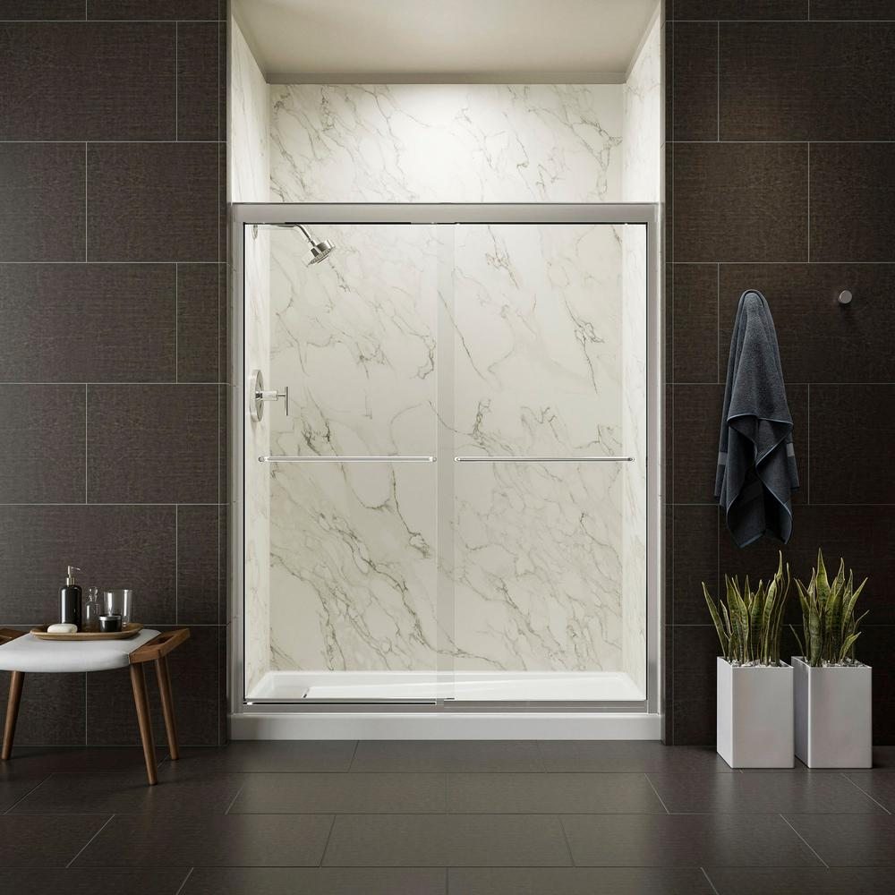 KOHLER Fluence 59-5/8 in. x 70-5/16 in. Heavy Semi-Frameless Sliding Shower Door in Bright Polished Silver with Handle
