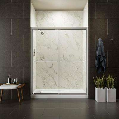 Fluence 59-5/8 in. x 70-5/16 in. Heavy Semi-Frameless Sliding Shower Door in Bright Polished Silver with Handle