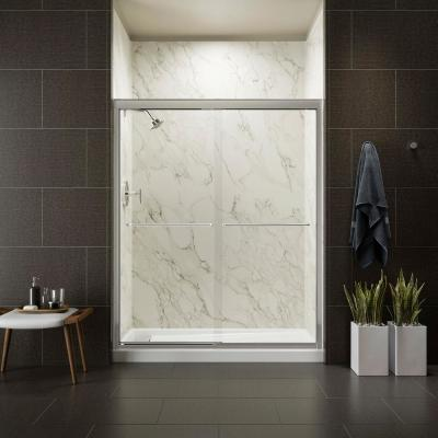 Fluence 59-5/8 in. x 75 in. Heavy Semi-Frameless Sliding Shower Door in Bright Polished Silver with Handle