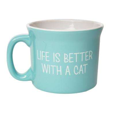 Cat Life is Better 20 oz. Blue-White Ceramic Coffee Mug