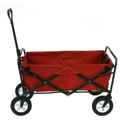 Collapsible Folding Steel Frame Outdoor Garden Camping Wagon, Red