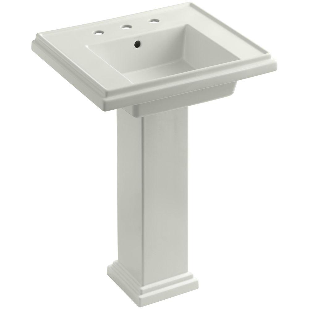 KOHLER Tresham Ceramic Pedestal Combo Bathroom Sink with 8 in. Centers in Dune with Overflow Drain