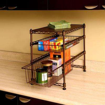 11.5 in W x 17.5 in D x 18.5in H Satin Bronze Stackable 3-Tier Sliding Double Basket Cabinet Organizer with Bonus Liners