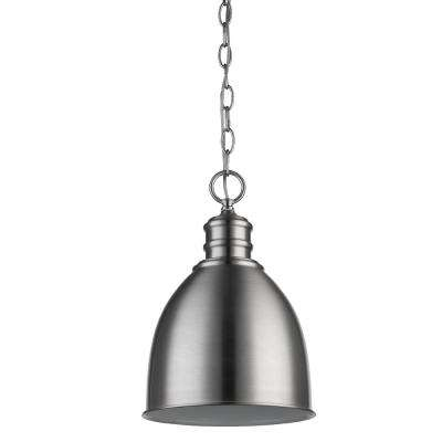 Colby 1-Light Satin Nickel Pendant with Gloss White Interior Shade