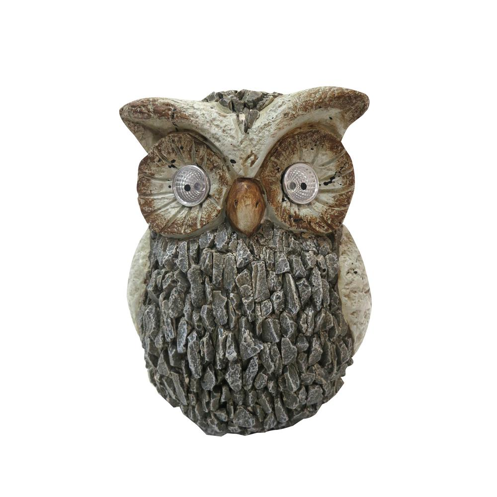 10 in. Tall Solar Outdoor Garden Owl Statue