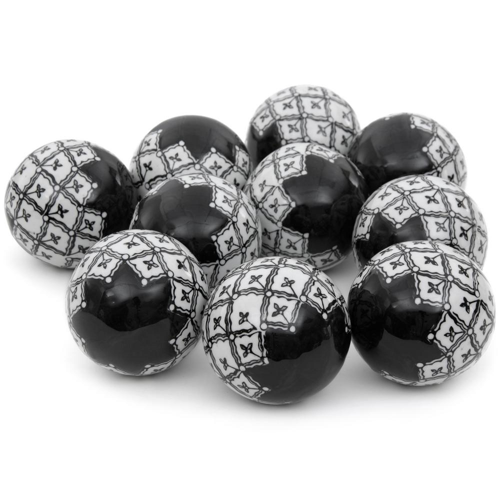 Oriental Furniture 3 in. Black and White Porcelain Ball Set