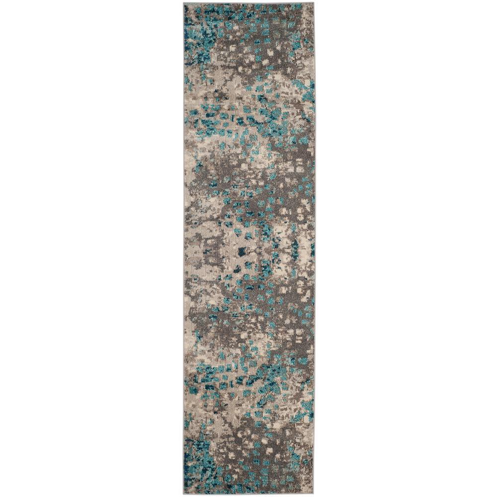 Safavieh Monaco Gray/Light Blue 2 ft. x 10 ft. Runner Rug