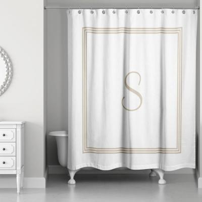 71 in. W x 74 in. L Beige and White Letter S Monogrammed Fabric Shower Curtain
