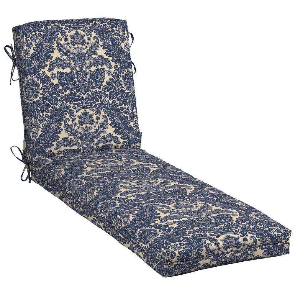 Hampton bay chelsea damask outdoor chaise lounge cushion for Bay window chaise lounge