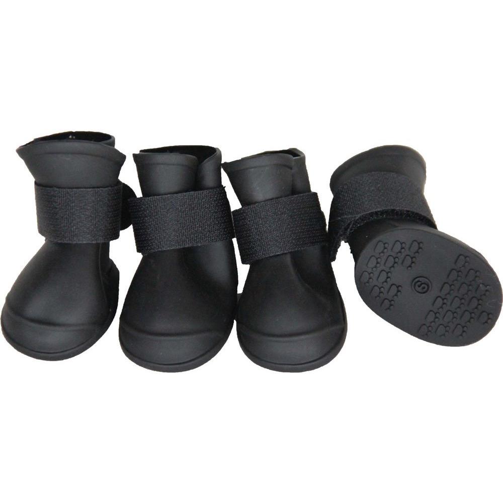 Large Black Elastic Protective Multi-Usage All-Terrain Rubberized Dog Shoes