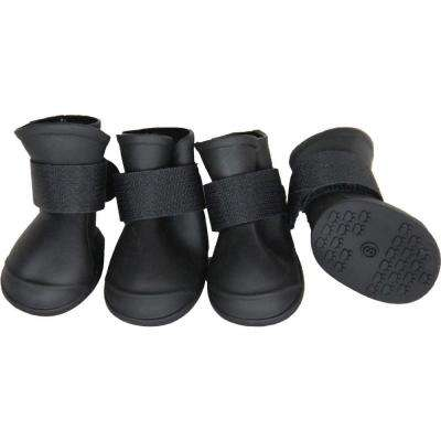 Small Black Elastic Protective Multi-Usage All-Terrain Rubberized Dog Shoes