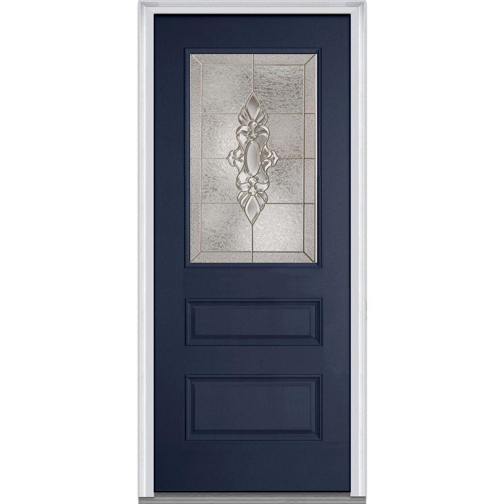 36 in. x 80 in. Heirloom Master Right-Hand 1/2-Lite Decorative 2-Panel Painted Fiberglass Smooth Prehung Front Door