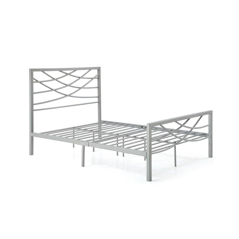 Complete Metal Silver Queen Bed with Headboard, Footboard...