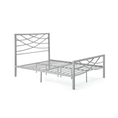 Complete Metal Silver Queen Bed with Headboard, Footboard, Slats and Rails