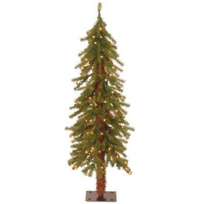 4 ft. Hickory Cedar Artificial Christmas Tree with 100 Clear Lights