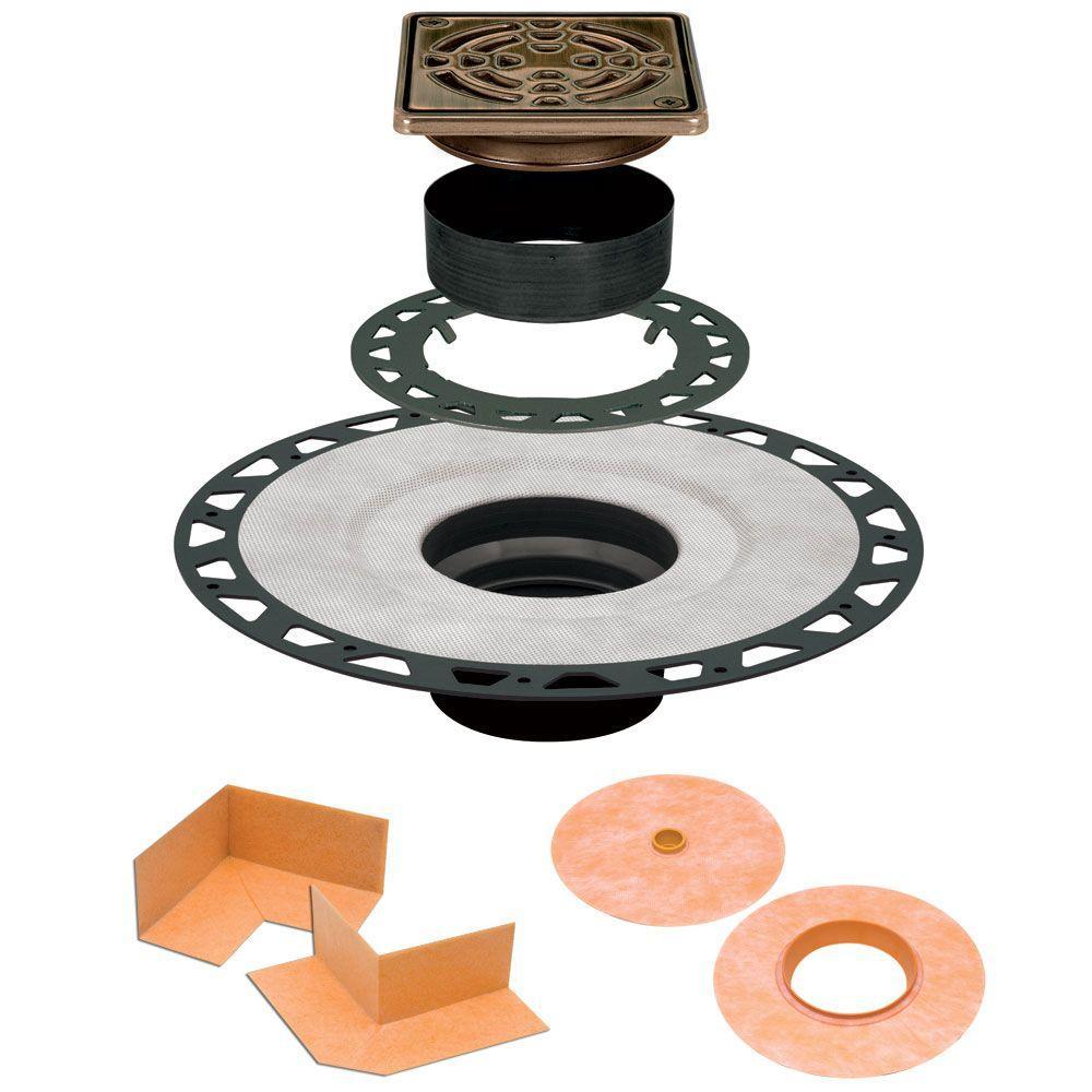 Kerdi-Drain 4 in. x 4 in. ABS Drain Kit in Oil-Rubbed Bronze Stainless Steel