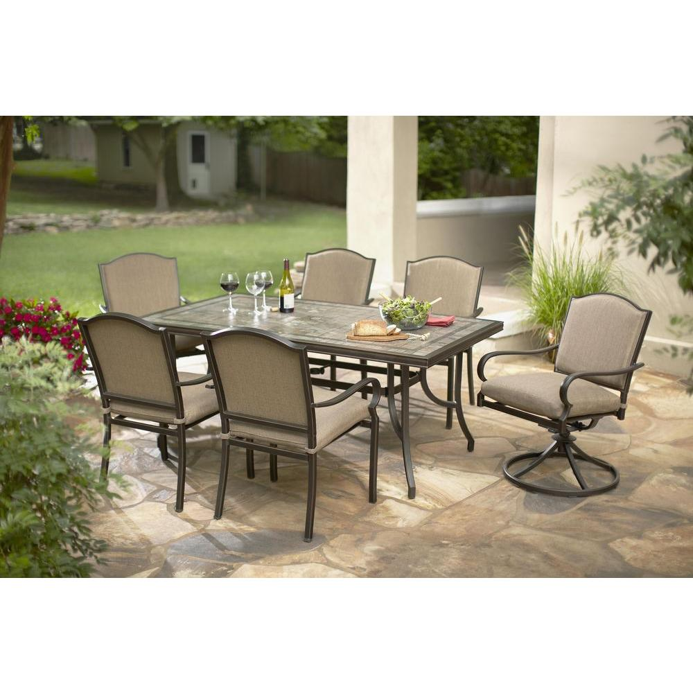 Exceptional Hampton Bay Castle Rock 7 Piece Patio Dining Set With Toffee  Cushions S7 ASH00100 1   The Home Depot