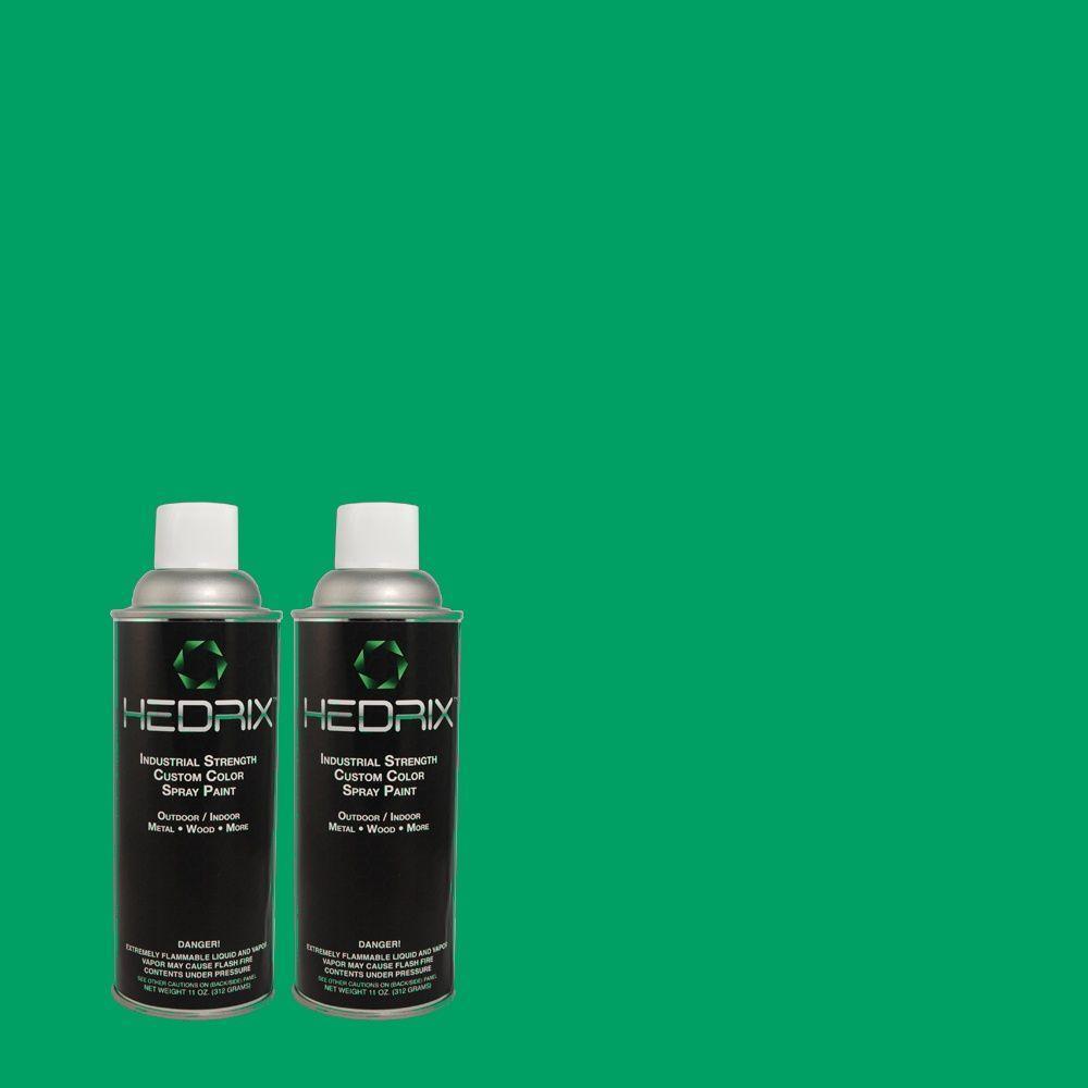 Hedrix 11 oz. Match of S-G-460 Mint Sprig Low Lustre Custom Spray Paint (2-Pack)