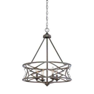 4-Light Vintage Antique Silver Chandelier