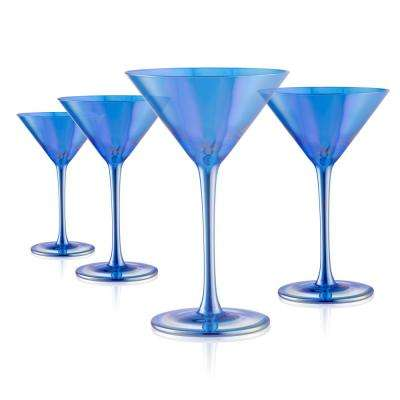 8 oz. Blue Martini Glasses (Set of 4)