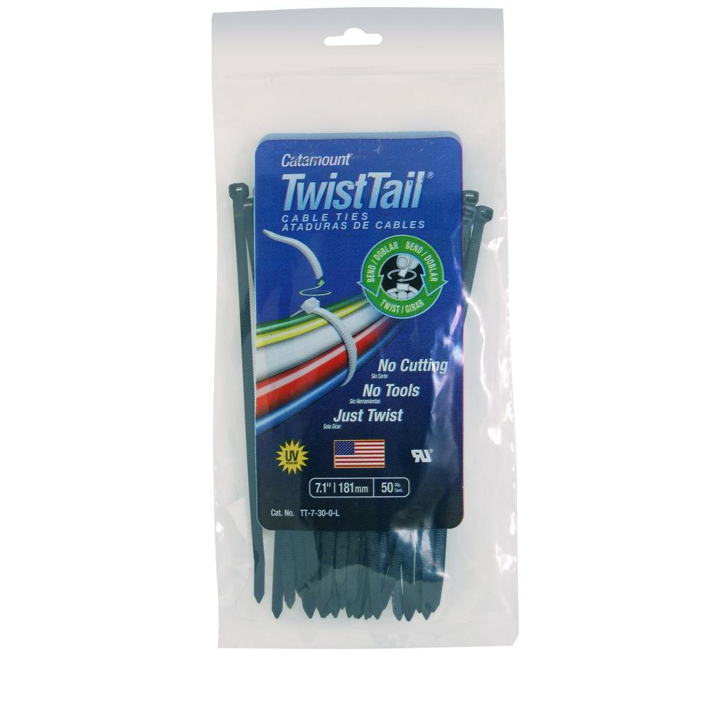 Catamount 7 in. 30 lb. Twisttail Cable Tie - Black (50-Pack)