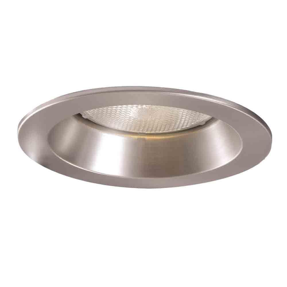 Satin Nickel Recessed Ceiling Light Shower Trim With Regressed Lens