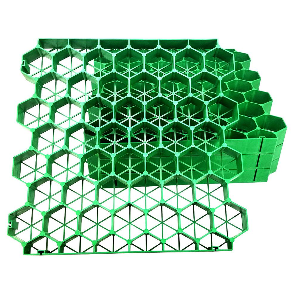 Techno Earth 19.7 in. x 19.7 in. x 1.9 in. Green Permeable Plastic Grass Pavers for Parking Lots, Driveways (4 Pieces/11 sq.ft.)