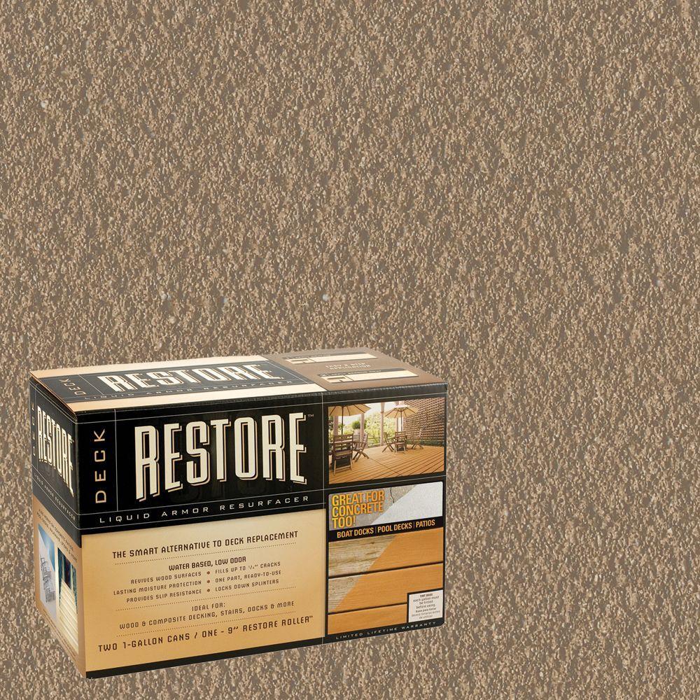 Restore Deck Liquid Armor Resurfacer 2 gal. Kit Water Based Dune Exterior Coating