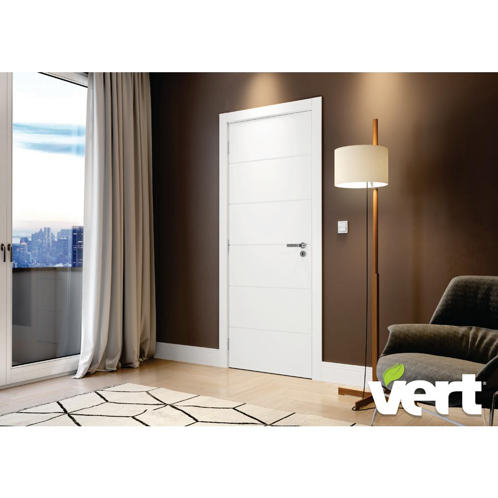 VERT VERT 32 in. x 80 in. Modern 6-Panel White Right-Handed Solid Core Wood Single Prehung Interior Door, White/Smooth