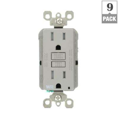 15 Amp 125-Volt Duplex Self-Test Tamper Resistant/Weather Resistant GFCI Outlet, Gray (9-Pack)