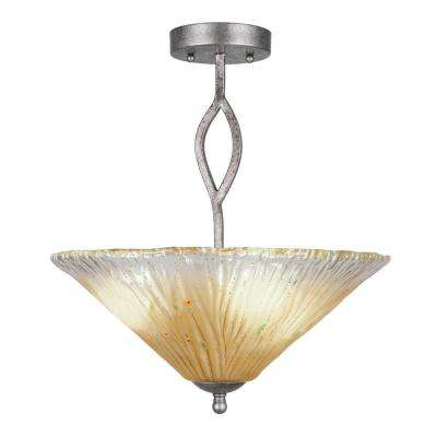 16 in. 3-Light Aged Silver Semi-Flush Mount with Amber Crystal Glass