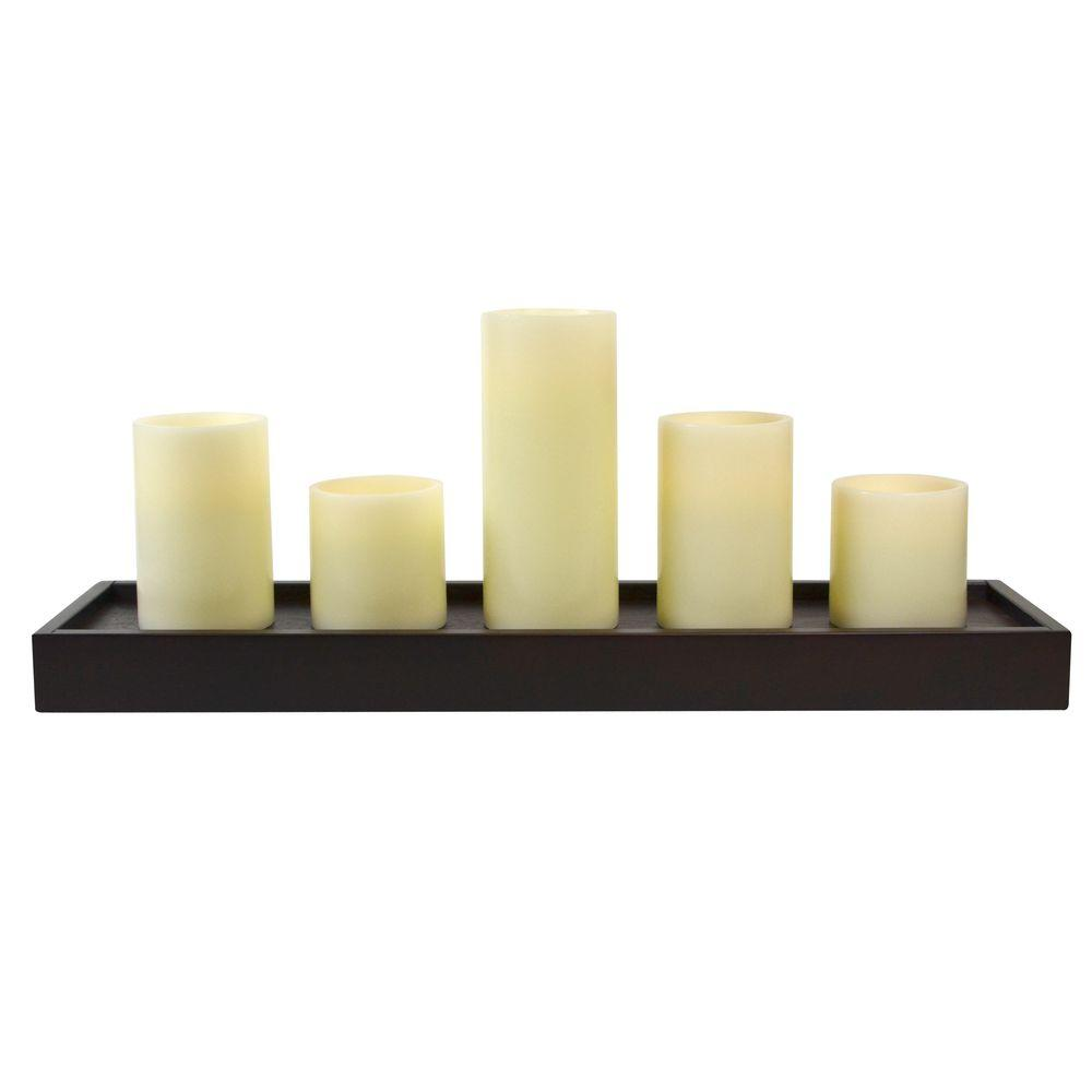 GKI / Bethlehem Lighting Wooden Tray with 5 Candles-DISCONTINUED