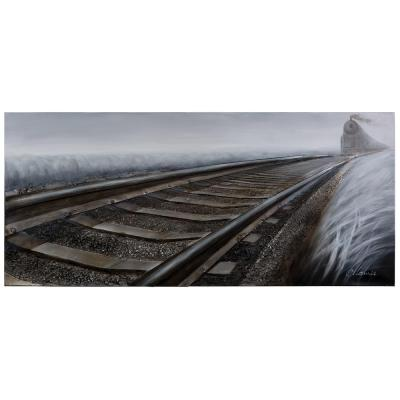 """31.5 in. H x 72 in. W """"Rip Track"""" Artwork in Synthetic Fabric Canvas Wall Art"""