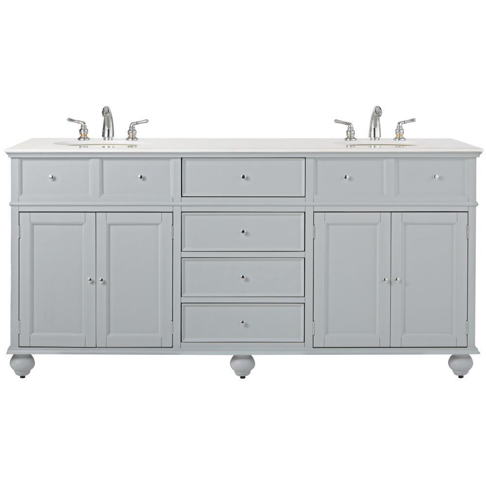 Hampton Harbor 72 in. W x 22 in. D Double Bath Vanity in Dove Grey with Marble Vanity Top in White