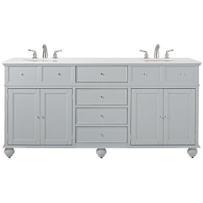 Hampton Harbor 72 in. W x 22 in. D Double Bath Vanity in Dove Grey with Marble Vanity Top in White