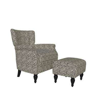 Duncan Gold and Black Leopard Print Velvet Channel Tufted Rolled Arm Chair and Ottoman Set