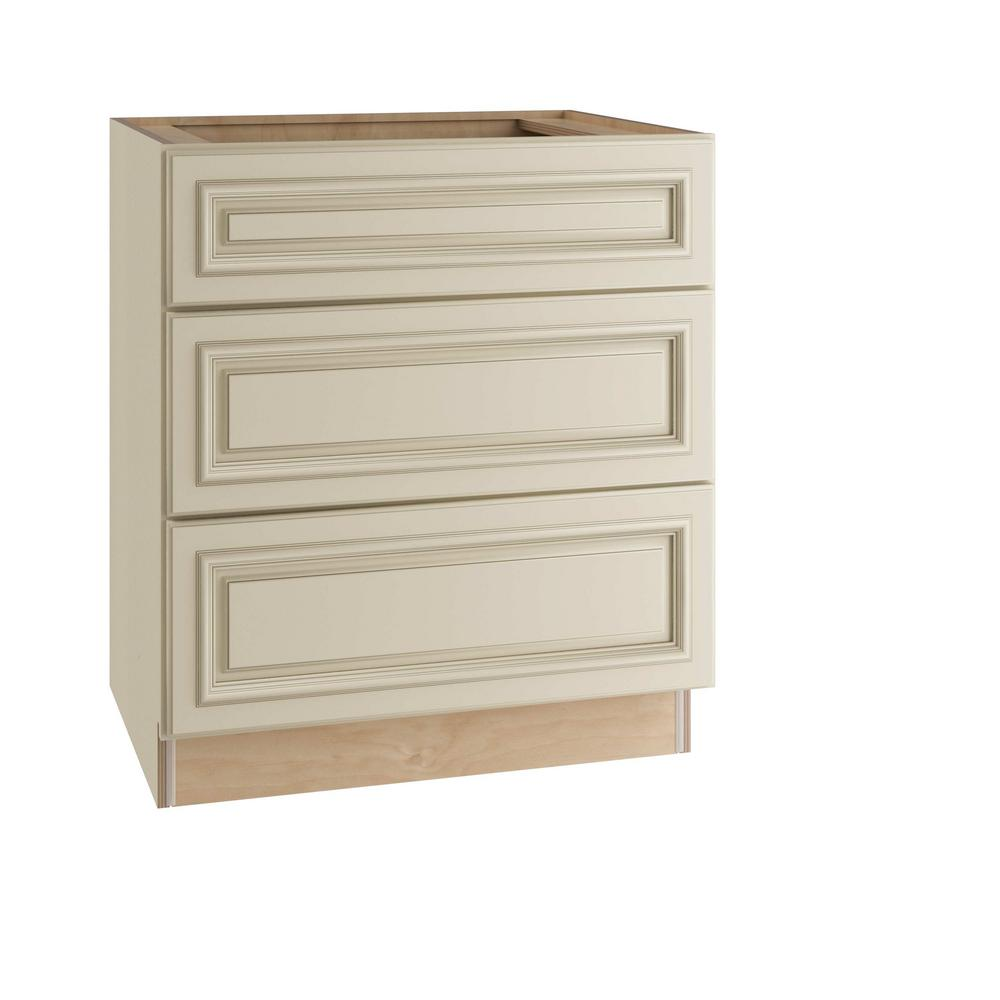 Home Decorators Collection 24x34.5x24 in. Holden Assembled Base Cabinet with 3 Drawers in Bronze Glaze