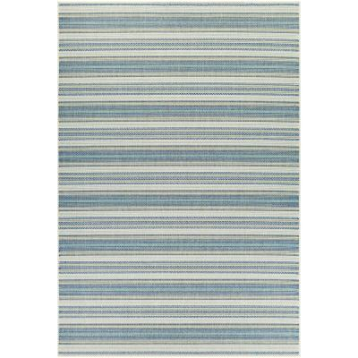 Monaco Marbella Ivory-Sand-Azure 5 ft. x 8 ft. Indoor/Outdoor Area Rug