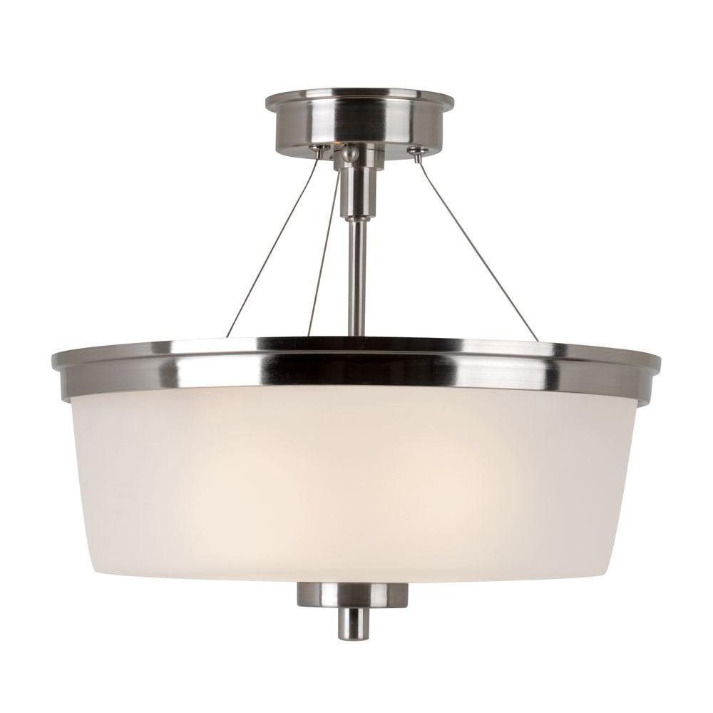 Hampton Bay 2-Light Brushed Nickel Semi-Flush Mount Light