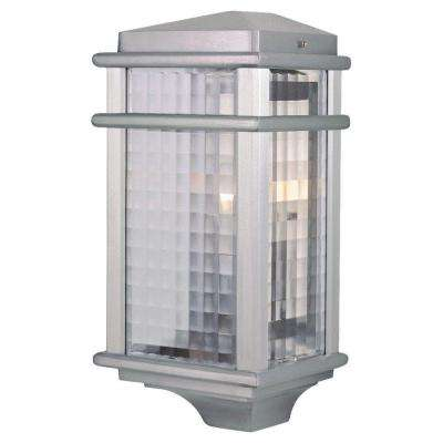 Mission Lodge 1-Light Brushed Aluminum Outdoor 15 in. Wall Lantern Sconce