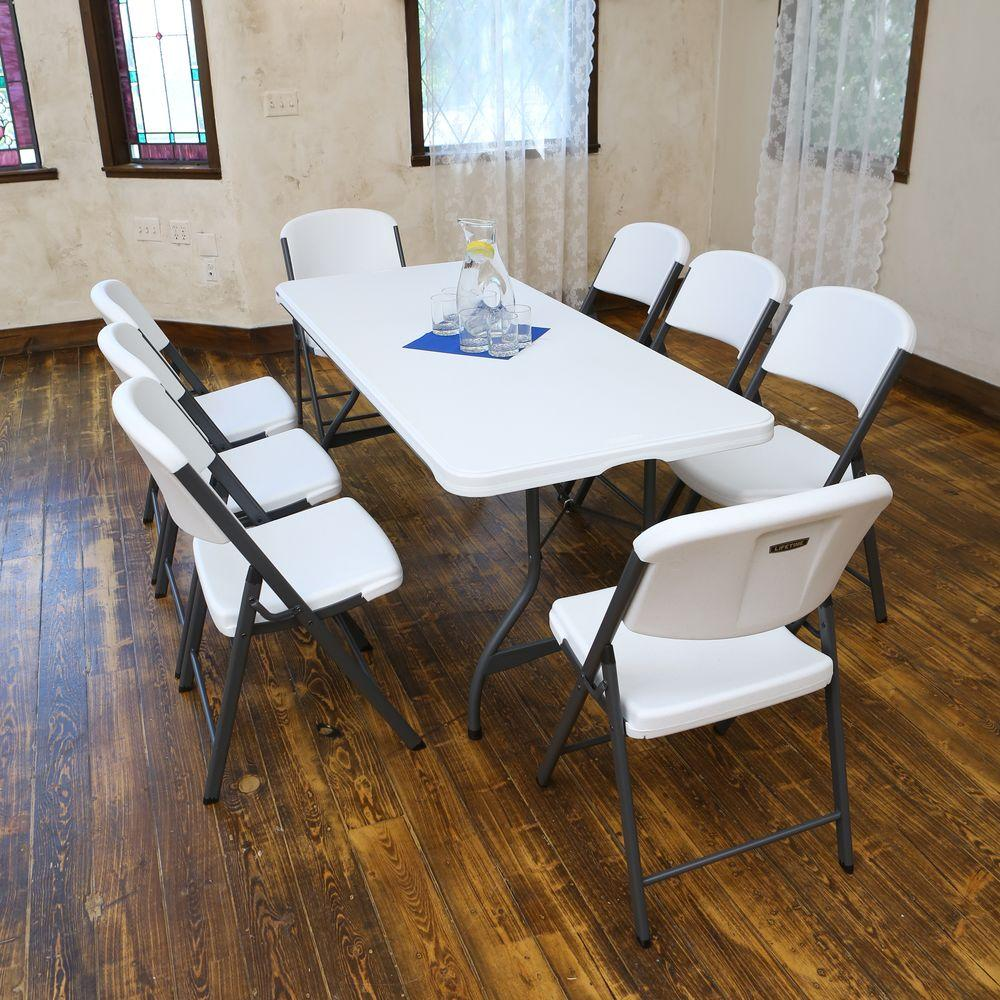 6ft Table With 6 Chairs: Lifetime 6 Ft. White Granite Stacking Table And Chair