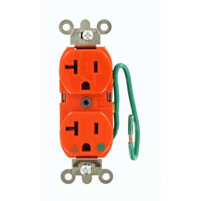 20 Amp Hospital Grade Extra Heavy Duty Isolated Ground Duplex Outlet with 6 in. Lead, Orange