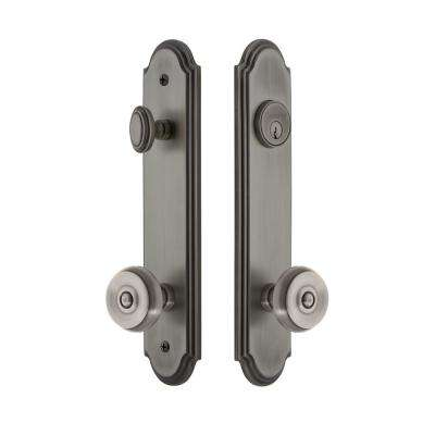 Arc Tall Plate 2-3/8 in. Backset Antique Pewter Door Handleset with Bouton Door Knob