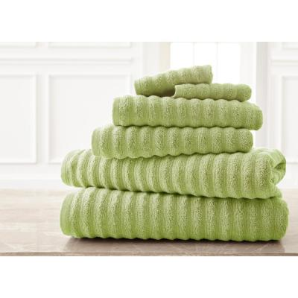 Wavy Luxury Spa Collection 6-Piece Sage Quick Dry Towel Set