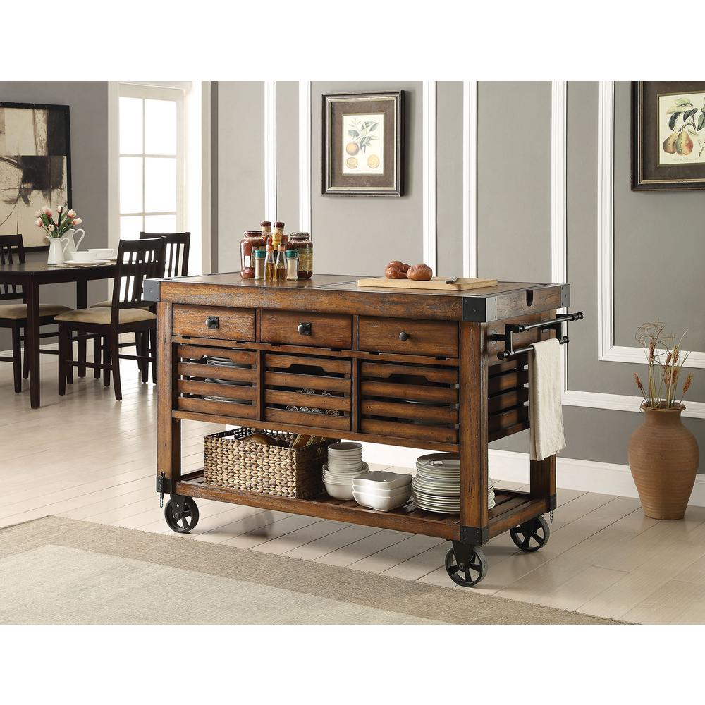 Good Acme Furniture Kaif Distressed Chestnut Kitchen Cart With Storage