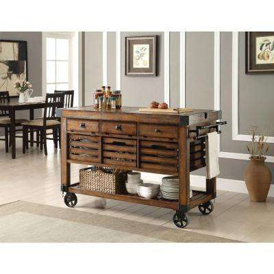 Kaif Distressed Chestnut Kitchen Cart With Storage